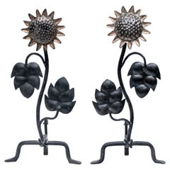 Fine Sun Flower Andiron Pair After Diego Giacometti