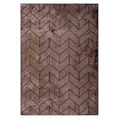 Modernist Geometric Chevron Brown and Charcoal Heavy Pliable Area Rug in Stock