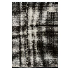 Modern Moroccan Berber Style Black and Ivory Abstract Rug in Stock
