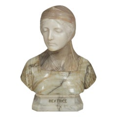 """Italian Alabaster Sculpture """"Bust of Beatrice"""" by Professor Giuseppe Bessi Ital"""