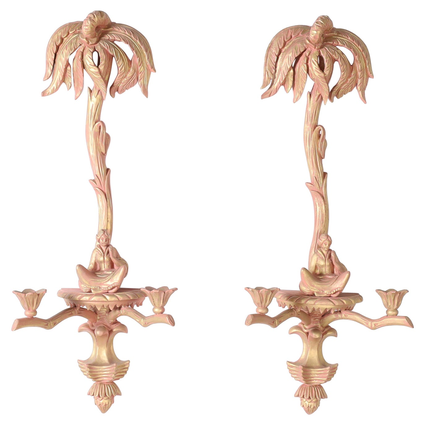 Pair of Palm Tree Chinoiserie Wall Sconces