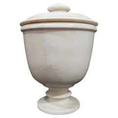 Hand-Carved Marble Goblet from India, with Lid