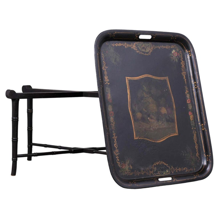 Antique Tole Tray Table For Sale