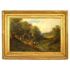 Victorian Oil Painting of Man on White Horse