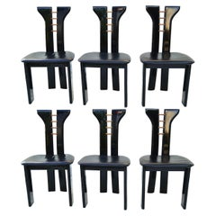 Set 6 Pierre Cardin Roche Bobois Italian Black Lacquer Dining Conference Chairs