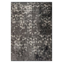 Modernist Silver Gray Abstract Fade Pattern Charcoal Beige Rug in Stock