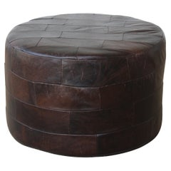 Patchwork Brown Leather Ottoman by De Sede, Switzerland, 1960s