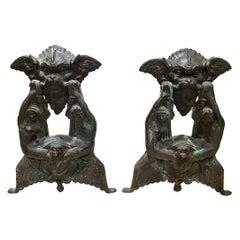 Venetian Palazzo Grotesque Andirons in Verdigris Bronze