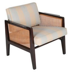 Caned and Ebonized Arm Chair Designed by Edward Wormley