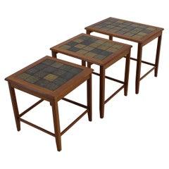 1960s Teak/Tile Nesting Tables, Denmark