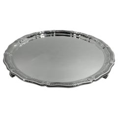 Tiffany Large & Heavy Edwardian Classical Sterling Silver Footed Tray