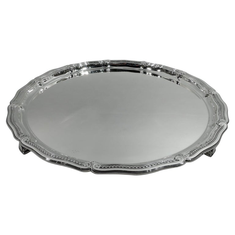 Tiffany Large & Heavy Edwardian Classical Sterling Silver Footed Tray For Sale