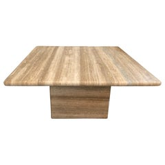 Italian Square Travertine Marble table by Le Lampade
