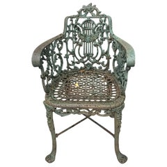 Heavy Painted Cast Iron Garden Chair in the Manner of Robert Wood