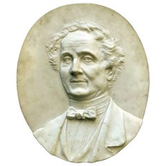 19th Century White Marble Italian Lawyer Portrait Relief