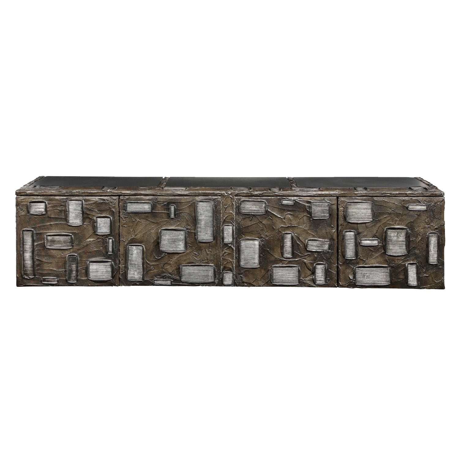 Paul Evans Important Sculpted Bronze Wall Cabinet 1969 'Signed'