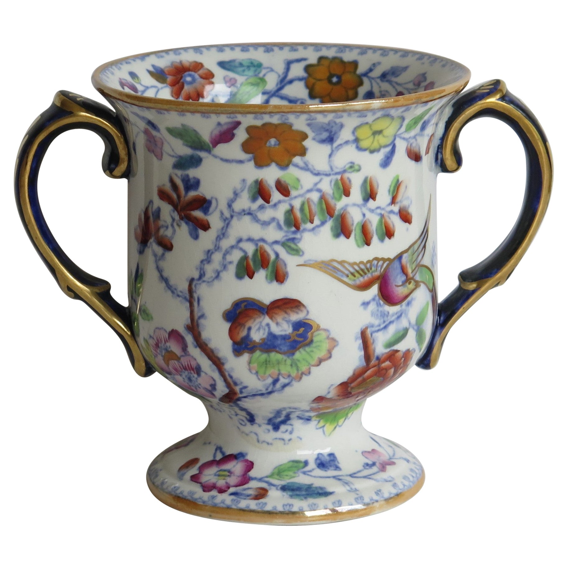 Rare Mason's Ironstone Loving Cup or Small Vase Flying Bird Pattern, Circa 1860