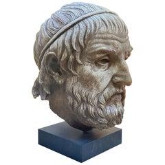 Antique Mounted on Base Sculpture Cast Head Zeus Bust Decorative Bibelot CA LA