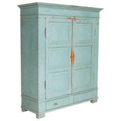 Large Antique Original Blue Painted Armoire, Denmark