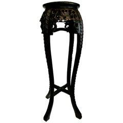 Chinese Tall Teak Pedestal Table