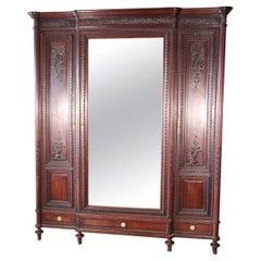 Fine Carved French Louis XVI Mahogany Mirrored Grand Armoire Wardrobe Circa 1900