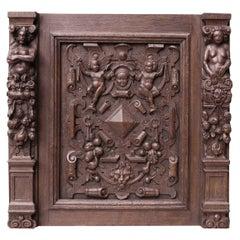 Carved Oak Georgian Panel