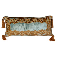 Blue Silk Velvet Pillow with Gold Embroidery and Tassels
