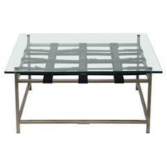 Glass-Topped Antique Nickel Coffee Table
