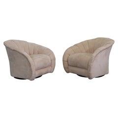 Pair Mid-Century Modern Vladimir Kagan Style Swivel Club Chairs Platform Base