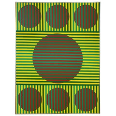 """Op Art painting Titled """"Position of Depend"""" by Wilma Dick, Ca 1970s"""