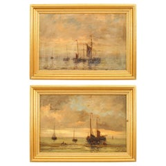 19th Century Pair of English Victorian Seascape Paintings in Gilt Frames