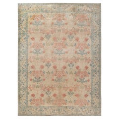 Spanish Mid-20th Century Beige, Turquoise and Dusty Pink Hand Knotted Rug