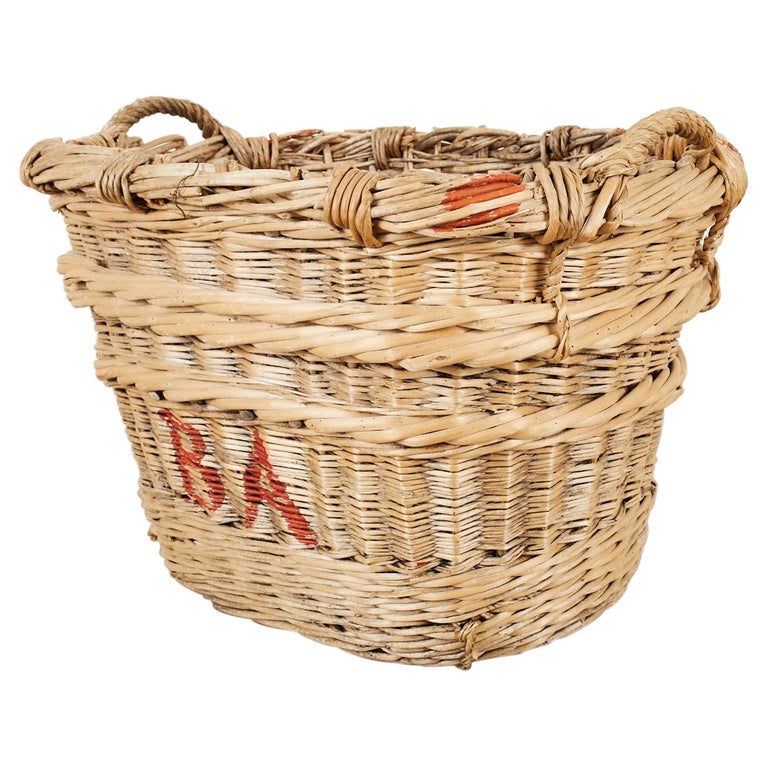 French Woven Wicker Champagne Grape Harvest Basket For Sale