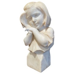 19th Century French Carved Two-Tone White Marble Bust of Young Beauty