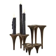 Sculptural Handcrafted Sand Cast Bronze Candlesticks 'Set of 3'