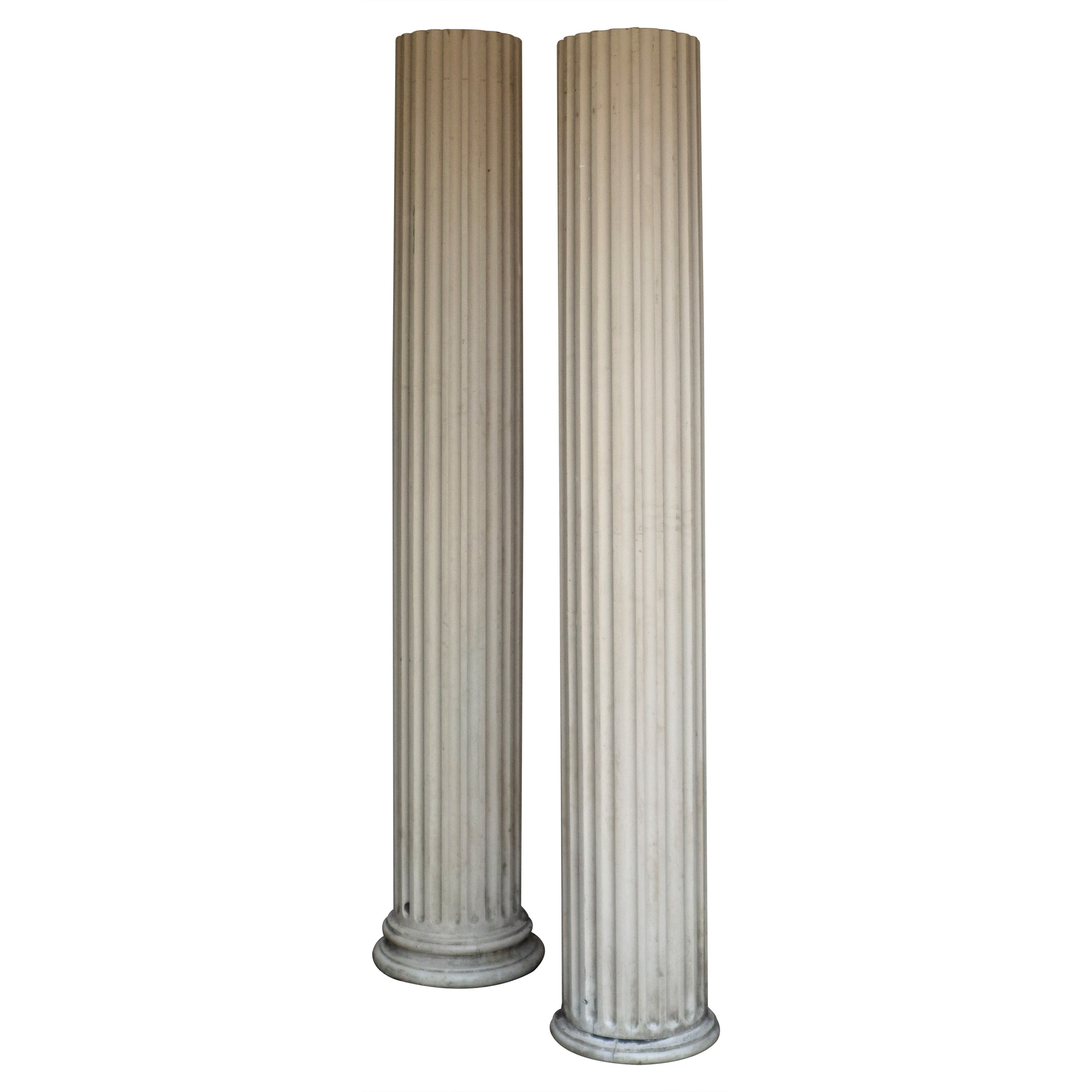 Antique American Architectural Fluted Wood Columns, Circa 1900