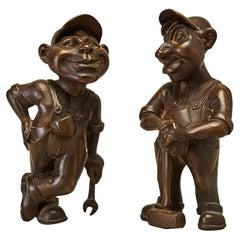 """Daniel Oates """"Hank & Frank Happy Workers"""" Bronze Figure Sculptures"""