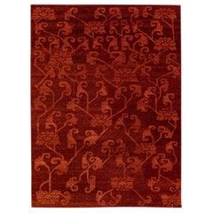 Modern Tibetan Handmade Floral Pattern Red Wool And Silk Rug
