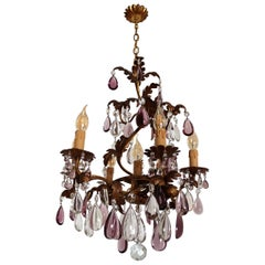 Italian Midcentury Chandelier with Antique Purple Murano Crystal Glass Drops
