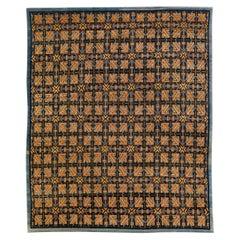 Modern Tibetan Ningxia Style Handmade Geometric Pattern Wool And Silk Rug