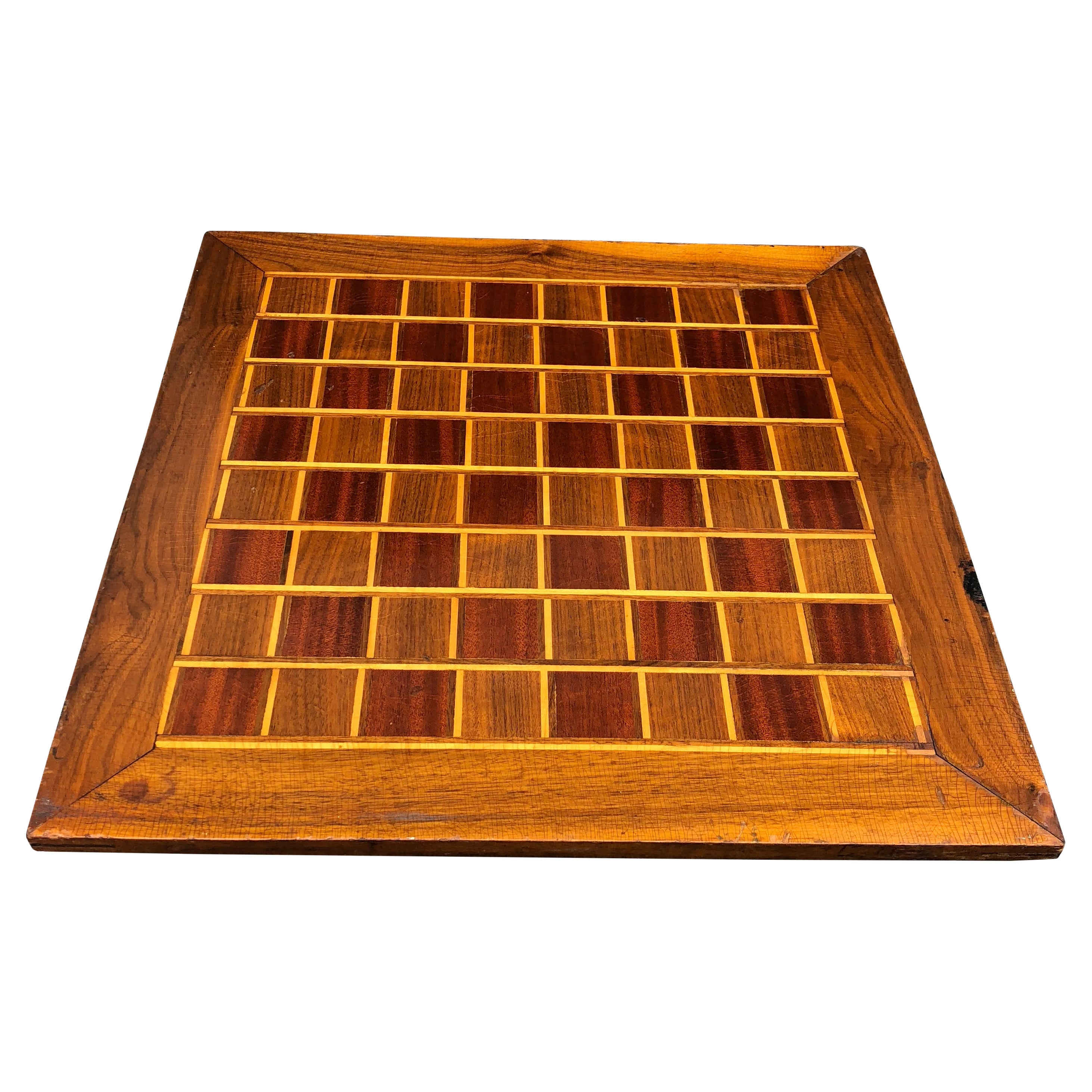 Large Wooden Folk Art Chess or Checkers Game Board