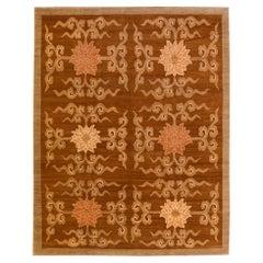 Modern Tibetan Handmade Lotus Flower Pattern Brown Wool and Silk Rug