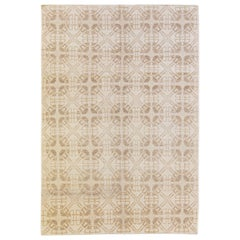 Modern Tibetan Handmade Geometric Pattern Beige Wool  Rug