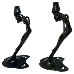 Vintage Art Deco Bronze Nymph Sculpture Candle Holders by MMA