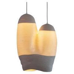 """2Ha"" Coiled Cotton and Nylon Rope Pendant Light by Doug Johnston"