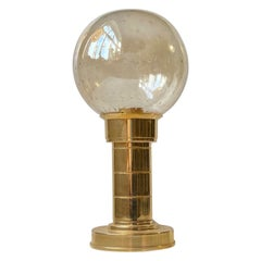 Gilt Brass and Bubble Glass Table Lamp by Föhl, West Germany 1970s