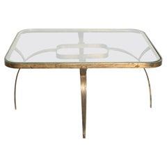 Regency Side Coffee Table in Bronze Sculptural Wishbone Legs Arturo Pani, 1950s