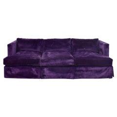 Barbara Barry for Hendredon Royal Purple Skirted Velvet Three-Seat Sofa