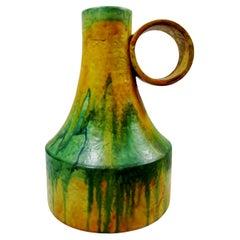 1970s Marcello Fantoni Italian Art Pottery Loop Handle Flambe Glaze Vase