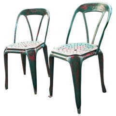 Iconic Metal Chairs by Joseph Mathieu Produced by Pierre Benite, Franche 1940's